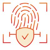 Checked fingerprint flat icon. Fingerprint identification approved red icons in trendy flat style. Check with vector illustration