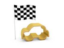 Checked flag and car symbol. On white background Royalty Free Stock Images