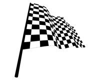 Checked flags. Black and white checked racing flag. Vector illustration Stock Images