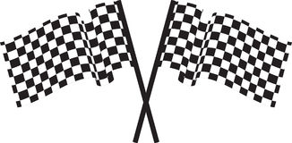 Checked flags. Black and white checked racing flag. Vector illustration Stock Photography