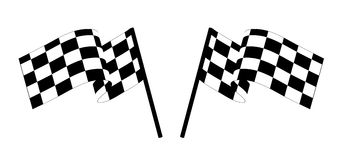 Checked flags. Black and white checked racing flag. Vector illustration Stock Photos