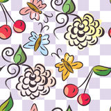Checked floral seamless pattern Stock Image