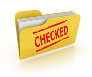 Checked folder 3d icon. Over the white background Stock Images