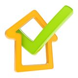 Checked house emblem with yes tick icon inside Stock Photography