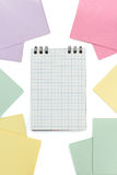 Checked notebook and note paper royalty free stock images