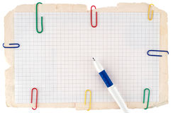 Checked notebook paper Stock Photography