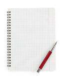Checked notebook  on white Stock Photography