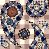 Checked paisley with buttons Stock Photo