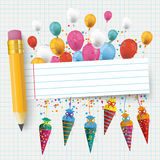 Checked Paper Balloons Banner Pencil Candy Cones. Checked school paper with colored balloons, candy cones, pencil and striped banner stock illustration