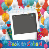 Checked Paper Balloons School Photo. Back to school flyer with instant photo frame vector illustration