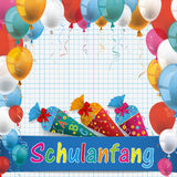 Checked Paper Balloons Schulanfang Candy Cones. German text Schulanfang, translate Back to School royalty free illustration