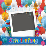Checked Paper Balloons Schulanfang Photo. German text Schulanfang, translate Back to School vector illustration