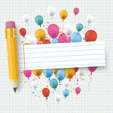 Checked Paper Balloons Striped Banner Pencil. Checked school paper with colored balloons, pencil and striped banner Stock Images