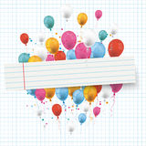 Checked Paper Balloons Striped Banner Stock Photos