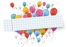 Checked Paper Banner Balloons Stock Photos