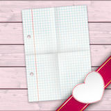 Checked Paper Banner White Heart Pink Wood Stock Images