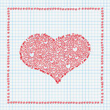 Checked Paper Handdrawn Hearts I Love You Stock Photography