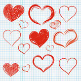 Checked Paper Handdrawn Hearts Set Royalty Free Stock Images