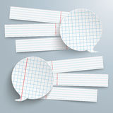 2 Checked Paper Speech Bubbles 6 Banners Royalty Free Stock Photos