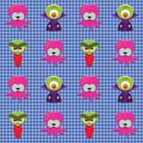 Checked pattern with aliens Stock Photography