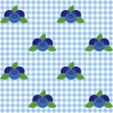 Checked pattern with blueberry. Vector seamless checked blue and white pattern with blueberry Royalty Free Stock Images