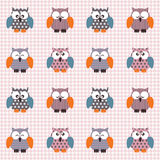 Checked pattern with cute owls. Vector seamless checked pink and white pattern with little cute owls Royalty Free Stock Photo