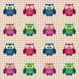 Checked pattern with cute owls. Vector seamless checked pattern colourful little cute owls Royalty Free Stock Image