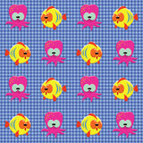 Checked pattern with doodle sea creatures Royalty Free Stock Image