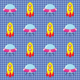 Checked pattern with spaceships Royalty Free Stock Images
