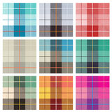 Checked Patterns. Seamless checked vector pattern with nine color variations Stock Photos