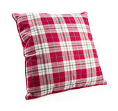 Checked pillow. Pillow isolated on white with clipping path Stock Image