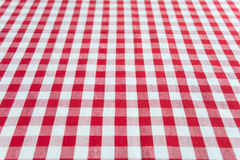 Checked red and white tablecloth Stock Photos