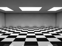 Checked room. An emty room with white ceiling lights and black and white checked floor. You can place your objects here Stock Photos
