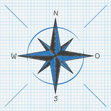 Checked School Paper Compass Stock Image
