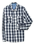 Checked shirt. Blue and white checked shirt on white royalty free stock photography