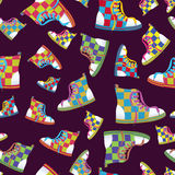 Checked sneaker seamless pattern Stock Photography