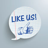 Checked Speech Bubble Like Us. Checked speech bubble with text Like Us on the gray background stock illustration