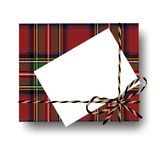 Checked tartan plaid gift present box with tied string bow and blank note with copy space. Wrapping diy idea. Vector illustration. Top view Stock Photos