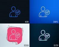 Checked User line icon. Profile Avatar sign. Royalty Free Stock Images