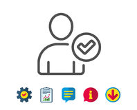 Checked User line icon. Profile Avatar sign. Checked User line icon. Profile Avatar with Tick sign. Person silhouette symbol. Report, Service and Information royalty free illustration