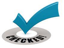 Checked word and blue check mark. 3D rendering Royalty Free Stock Image