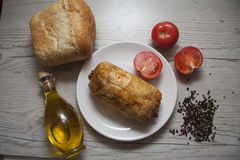 Checken roll with fresh tomatoes and bread Stock Photography