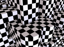 Checker board background. 3D rendered illustration of an abstract background. The background is composed of multiple edge fillet edges. The shapes are textured Royalty Free Stock Image