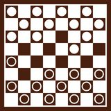 Checker board with checkers. Vector Royalty Free Stock Images