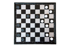Checker board with checkers game on white background.  royalty free stock photo