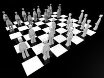 Checker board game concept. Checker board game player ready to battle 3d illustration Stock Images