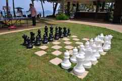 Checker board. Outdoor Checker board in Hotel stock photography
