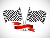 Checker flag and red ribbon illustration design Stock Images