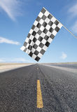 Checker Flag. Road with yellow arrow with Checker Flag royalty free stock image