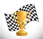 Checker flag and trophy illustration design Royalty Free Stock Images